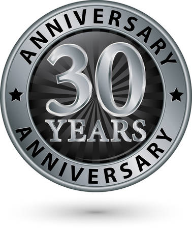 silver anniversary: 30 years anniversary silver label, vector illustration