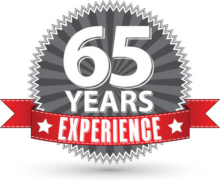 65 years old: 65 years experience retro label with red ribbon, vector illustration
