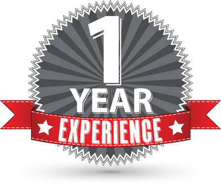 one year old: 1 year experience retro label with red ribbon, vector illustration