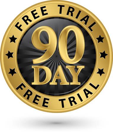 90: 90 day free trial golden label, vector illustration