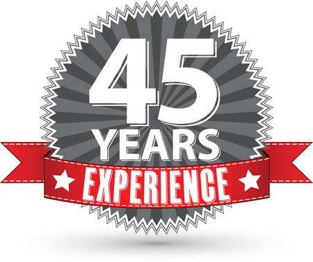 45th: 45 years experience retro label with red ribbon, vector illustration Illustration