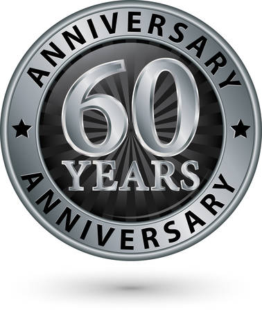 silver anniversary: 60 years anniversary silver label, vector illustration