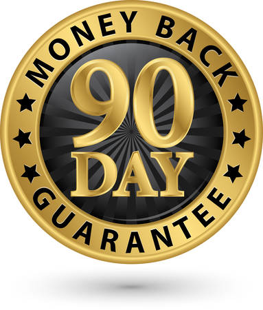back: 90 day money back guarantee golden sign, vector illustration