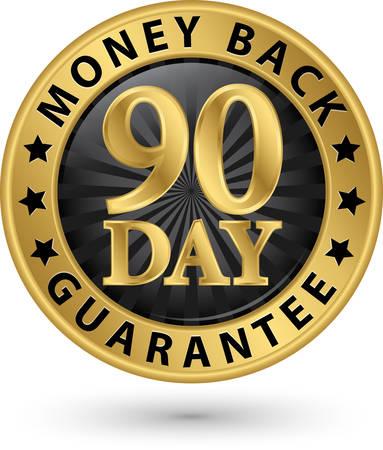 90 dni gwarancji zwrotu pieniędzy złoty znak, ilustracji wektorowych