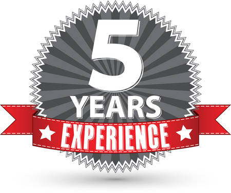 5th: 5 years experience retro label with red ribbon, vector illustration