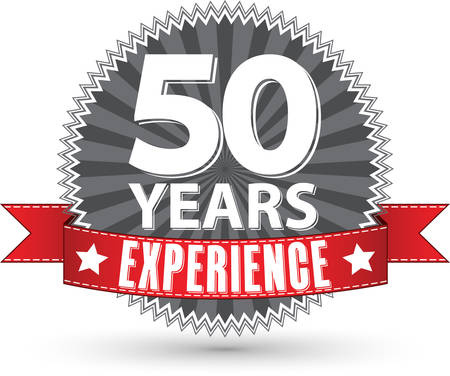 50th: 50 years experience retro label with red ribbon, vector illustration