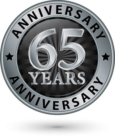 65th: 65 years anniversary silver label, vector illustration