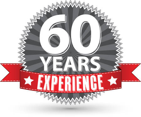 60 years: 60 years experience retro label with red ribbon, vector illustration