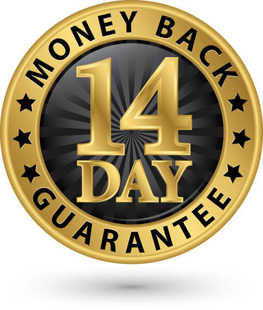14 day money back guarantee golden sign, vector illustration 矢量图像