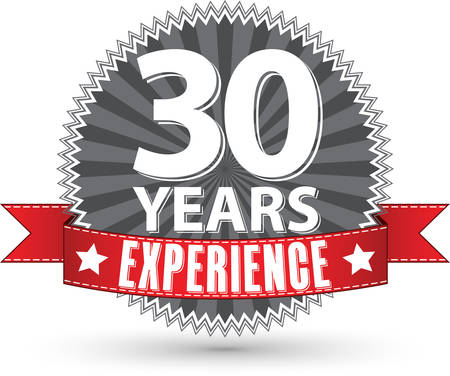 the 30: 30 years experience retro label with red ribbon, vector illustration