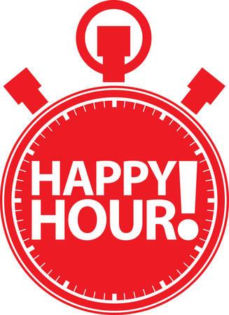 hour: Happy hour alarm clock icon, illustration