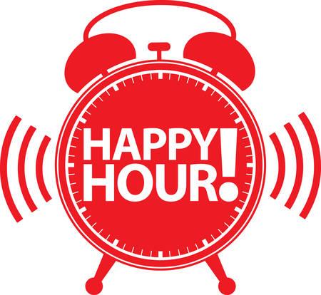 Happy hour alarm clock icon, illustration