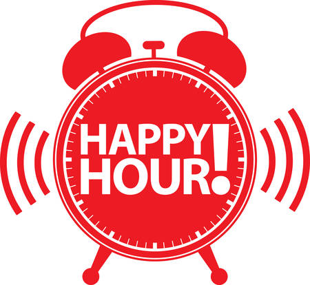 Happy hour alarm clock icon, illustration
