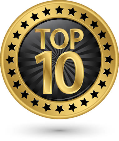 Top 10 gouden label, illustratie Stock Illustratie