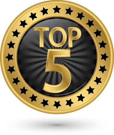 Top 5 golden label, illustration Vectores