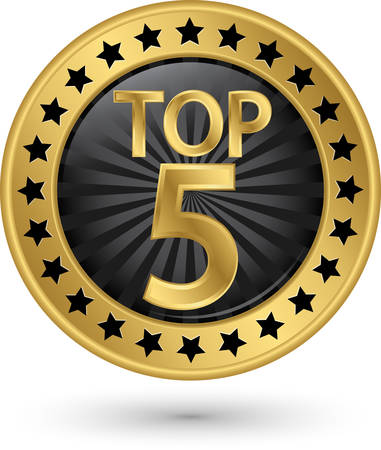 Top 5 gouden label, illustratie Stock Illustratie