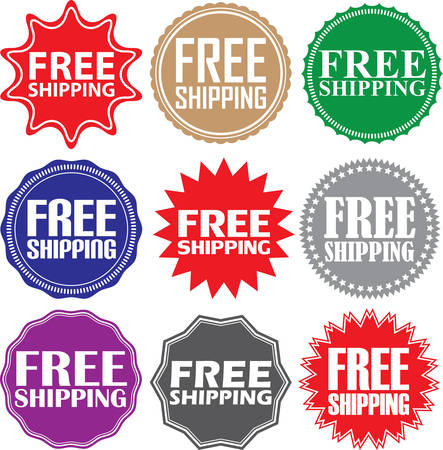 free illustration: Free shipping signs set, free shipping sticker set, illustration