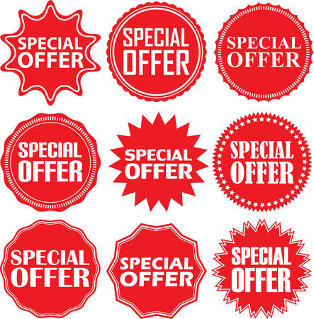 special price: Special offer signs set, special offer sticker set, illustration