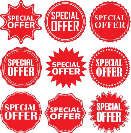 Speciali segni di offerta set, speciale set offerta adesivo, illustrazione Archivio Fotografico - 54302374