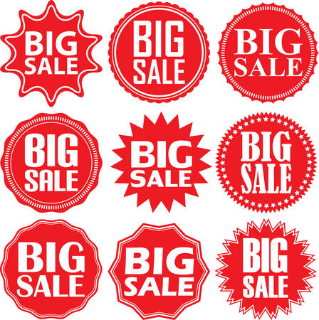 simple store: Big sale label set, big sale sticker set, illustration