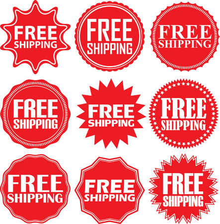 free: Free shipping signs set, free shipping sticker set, illustration