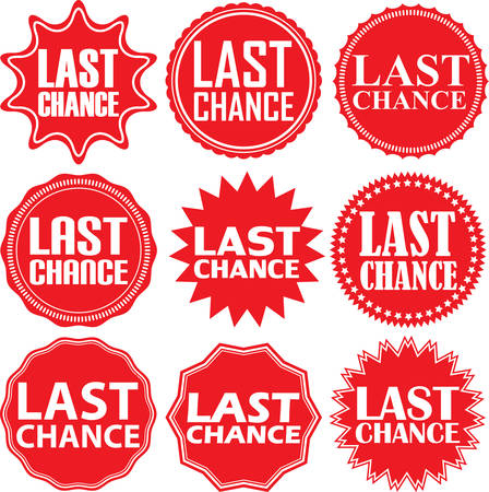 chance: Last chance red label. last chance red sign. Last chance red banner. Vector illustration