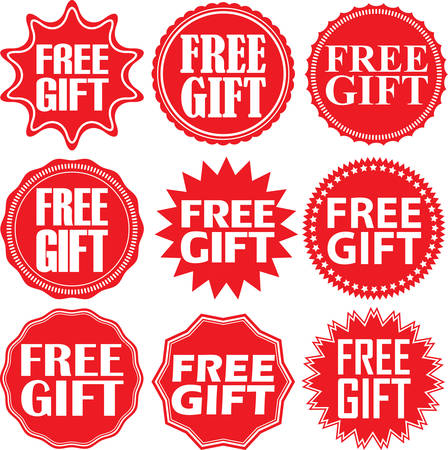 free illustration: Free gift red label. Free gift red sign. Free gift red banner. Vector illustration Illustration