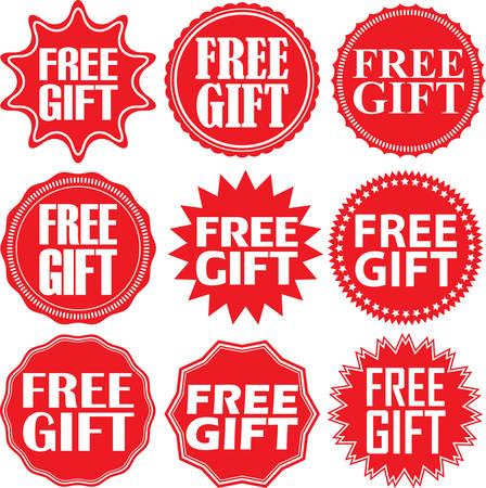 free gift: Free gift red label. Free gift red sign. Free gift red banner. Vector illustration Illustration