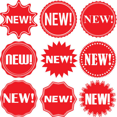 Nieuwe borden set, nieuwe sticker set, vector illustratie