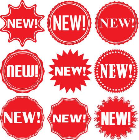 Nuevas señales instaladas, nuevo Conjunto de etiqueta, ilustración vectorial Foto de archivo - 55748097