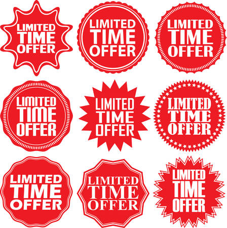 limited time: Limited time offer red label, vector illustration