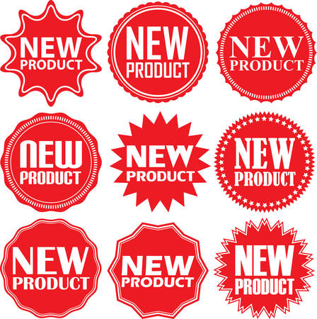 New product signs set, new product sticker set, vector illustration