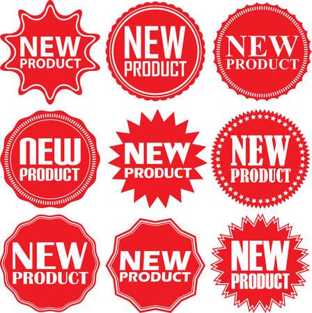 Nuovi segnali di prodotto previsti, nuovi set di adesivi prodotti, illustrazione vettoriale