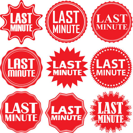 minute: Last minute red label. Last minute red sign. Last minute red banner. Vector illustration