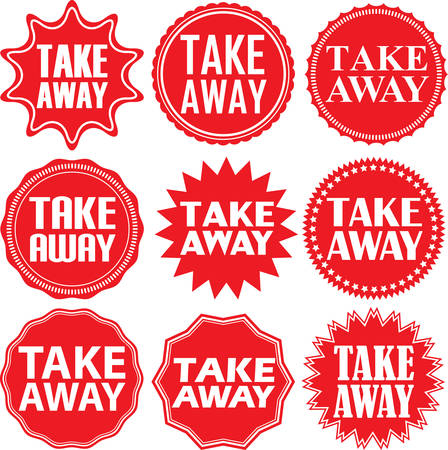take out food: Take away red label. Take away red sign. Take away red banner. Vector illustration Illustration