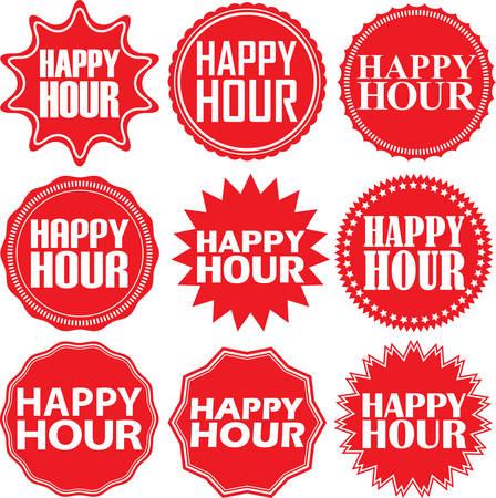 La hora feliz etiqueta roja. La hora feliz muestra rojo. La hora feliz bandera roja. ilustración vectorial