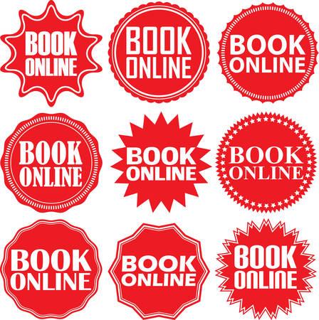Boek online rood label. Boek online rood teken. Boek online rode banner. vector illustratie Vector Illustratie