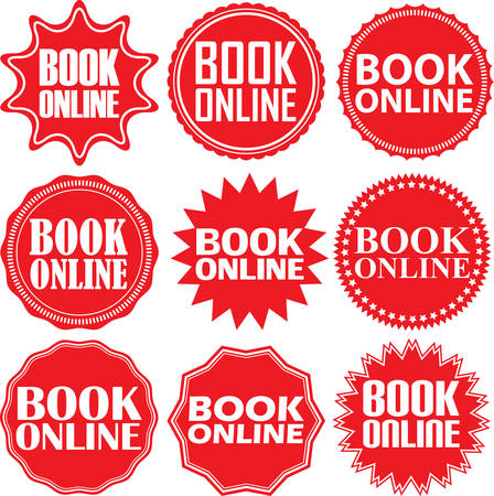 red sign: Book online red label. Book online red sign. Book online red banner. Vector illustration Illustration