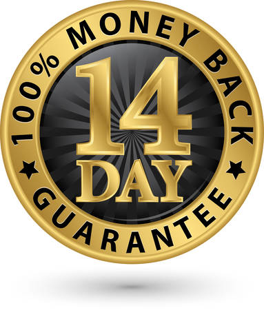 14 day 100% money back guarantee golden sign, vector illustration