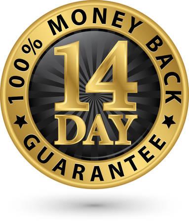14 day 100% money back guarantee golden sign, vector illustration