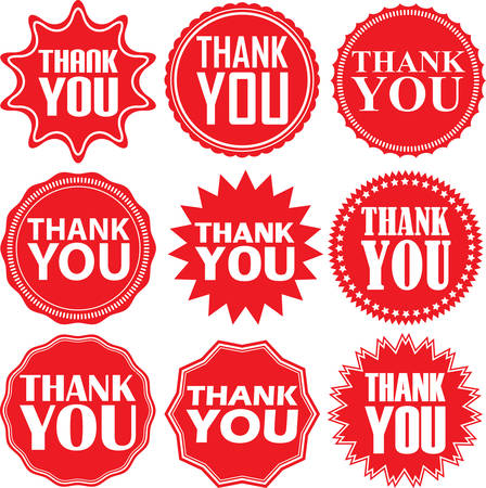 red sign: Thank you red label. Thank you red sign. Thank you red banner. Vector illustration Illustration