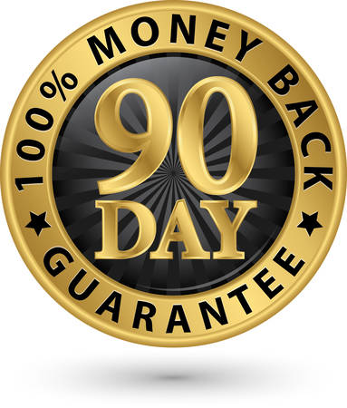 hundred: 90 day 100%  money back guarantee golden sign, vector illustration