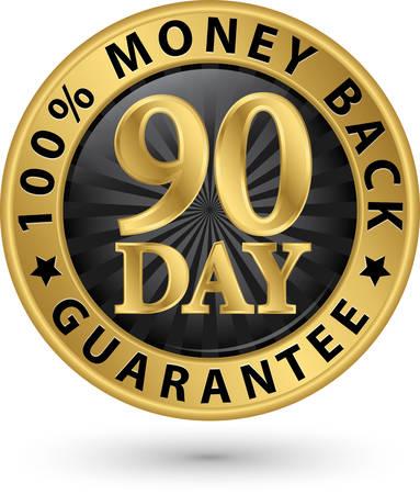 90 giorno 100% garanzia di rimborso di denaro dorato segno, illustrazione vettoriale