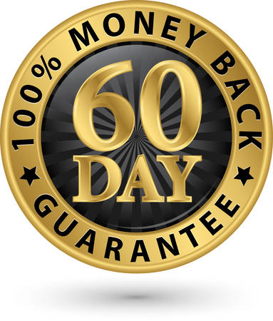 60 day 100%  money back guarantee golden sign, vector illustration