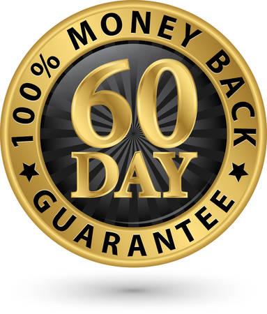 60 giorni 100% garanzia di rimborso segno d'oro, illustrazione vettoriale Vettoriali
