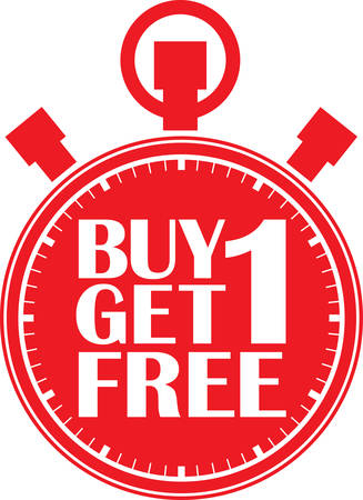 big timer: Buy 1 get 1 free red stopwatch, vector illustration