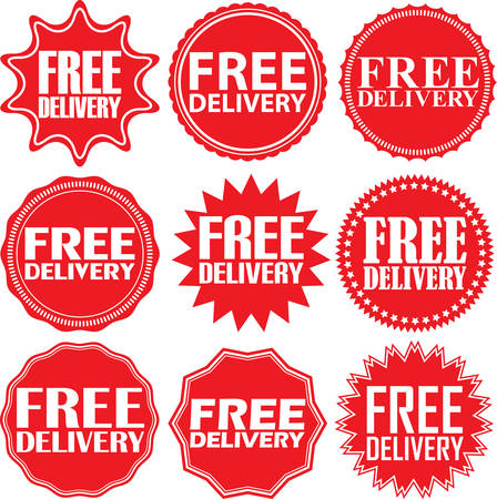 free illustration: Free delivery signs set, free delivery sticker set, vector illustration