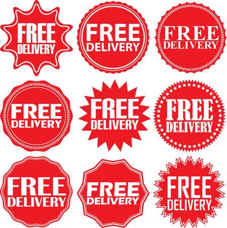 free delivery: Free delivery signs set, free delivery sticker set, vector illustration