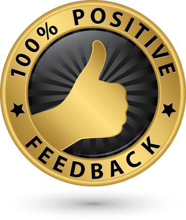 feedback label: 100 percent positive feedback golden label, vector illustration