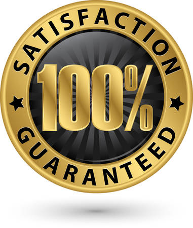 satisfaction: 100 percent customer satisfaction guaranteed golden sign with ribbon, vector illustration